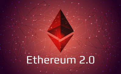 Ethereum 2.0 updated - cryptocurrency coin symbol on abstract polygonal red background. New direction after hard fork. Proof-of-Stake PoS consensus. Vector EPS10.
